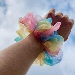 Lila Rainbow Organza Scrunchie