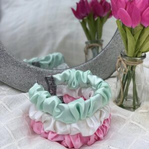 Lila Mint Satin Ruffle Headband