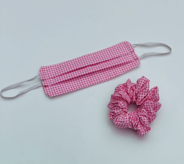Lila Pink Gingham Face Mask Set