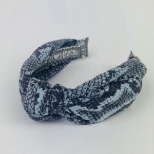 Lila Blue Snakeskin Turban Headband