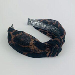 Lila Mesh Leopard Print Turban Headband