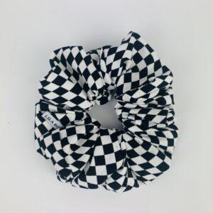 Lila Black White Check Scrunchie