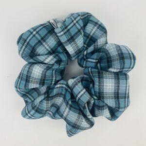 Lila Blue Plaid Scrunchie