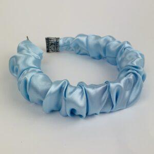 Lila Baby Blue Satin Ruffle Headband