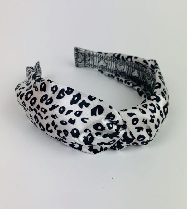 Lila Leopard Print Satin Turban Headband