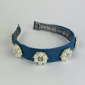 Lila Jewelled Denim Pearl Headband