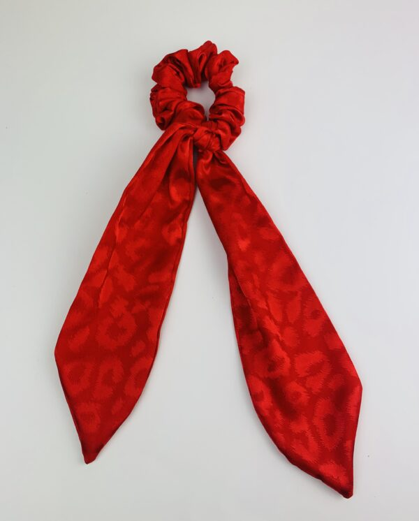 Lila Red Satin Long Scrunchie Tie