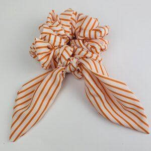 Lila Orange Striped Short Scrunchie Tie