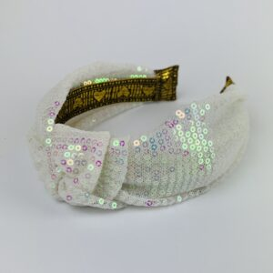 Lila White Sequin Turban Headband