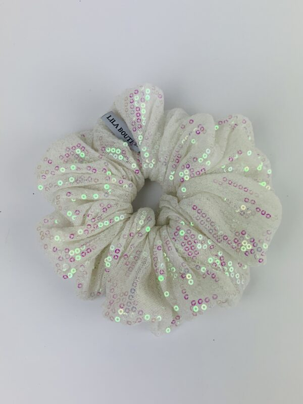 Lila White Sequin Scrunchie