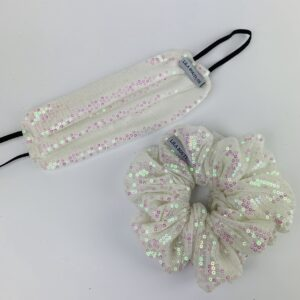 Lila White Sequin Face Mask Set