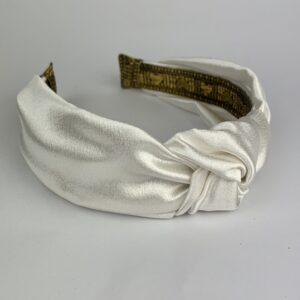 Lila Ivory Satin Turban Headband