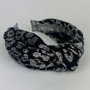 Lila Silver Leopard Print Turban Headband