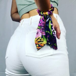 Lila Purple Palm Short Scrunchie Tie