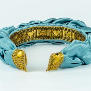 Lila Baby Blue Satin Plaited Headband