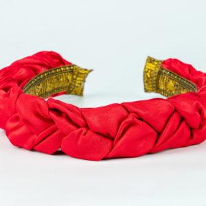 Lila Red Satin Plaited Headband