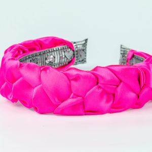 Lila Fuchsia Satin Plaited Headband