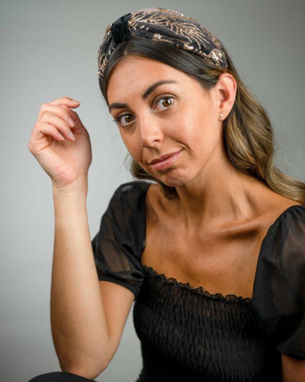 Lila Black Glitz Bow Headband